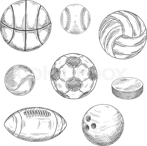 Sporting balls and hockey puck sketch icons