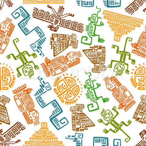 Ancient mexican seamless pattern with mayan totems