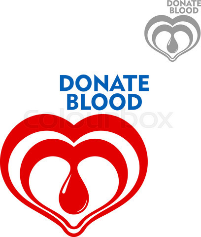 Double hearts with drop of blood inside icon