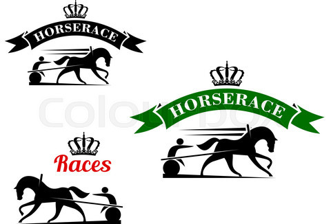 Equestrian sport icons for harness racing design