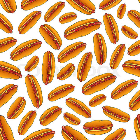 Seamless hot dog sandwiches with sauces pattern