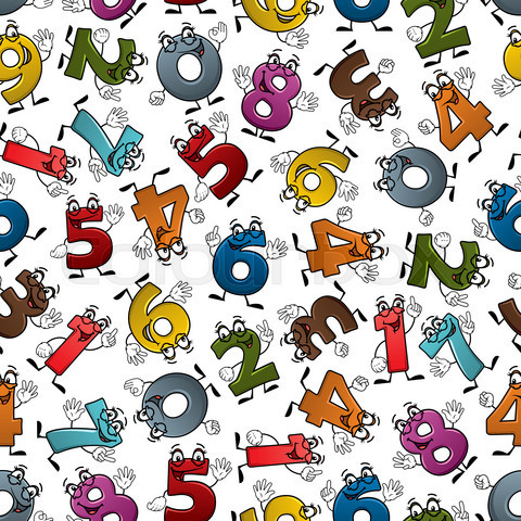 Funny colorful cartoon numbers seamless pattern