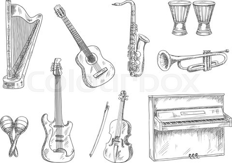 Musical instruments sketch icons for art design