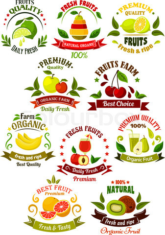 Fresh fruits retro icons for agriculture design