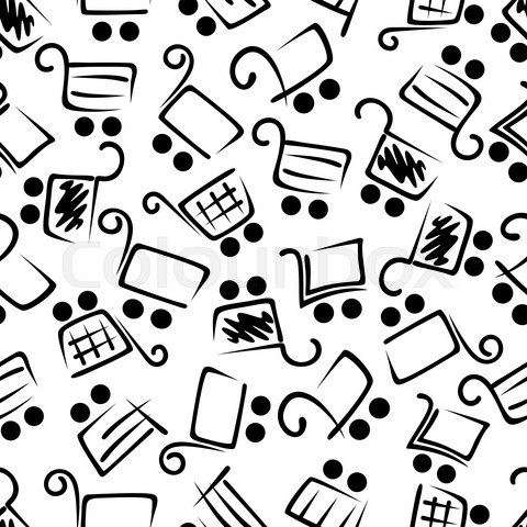 Black and white seamless shopping carts pattern