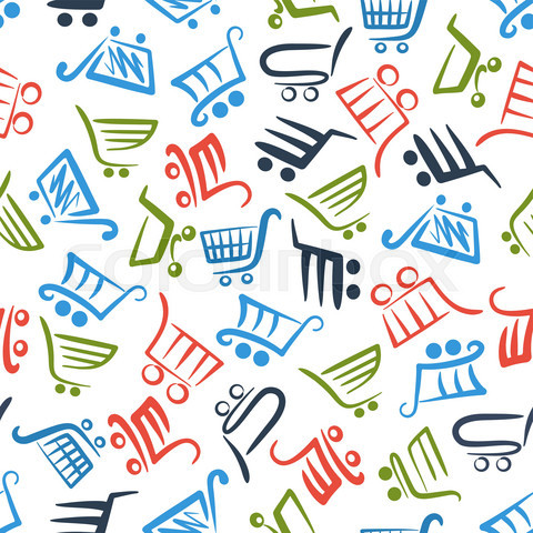 Colorful shopping carts seamless pattern