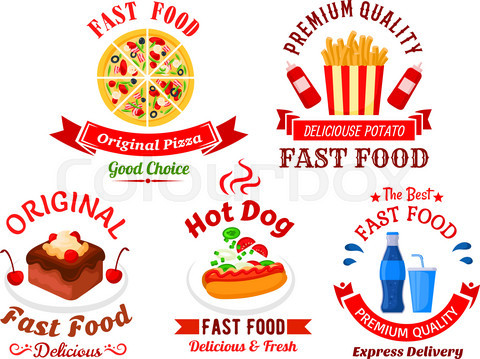 Fast food cafe and pizzeria cartoon icons