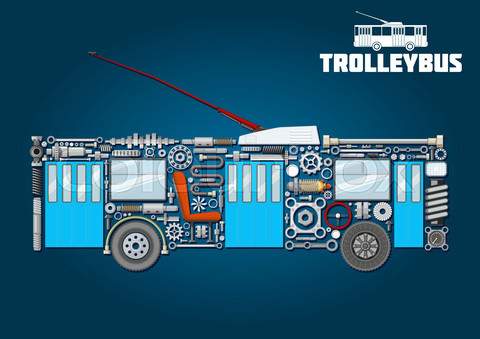 Trolleybus icon of detailed main components