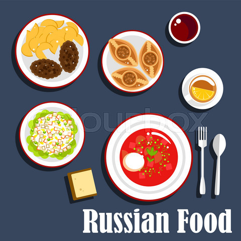 Typical dinner of russian cuisine flat icon