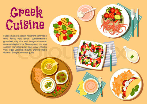 Greek cuisine flat icon with appetizer dishes