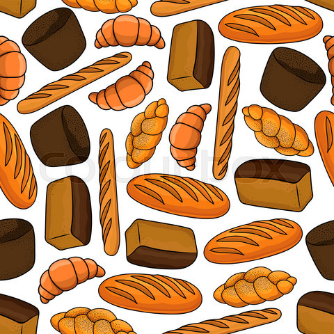 Seamless bakery and pastry products pattern
