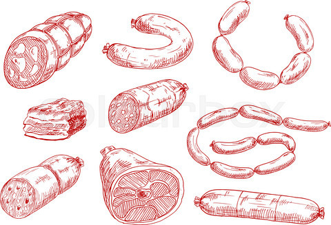 Fresh and tasty meat products red sketch icons