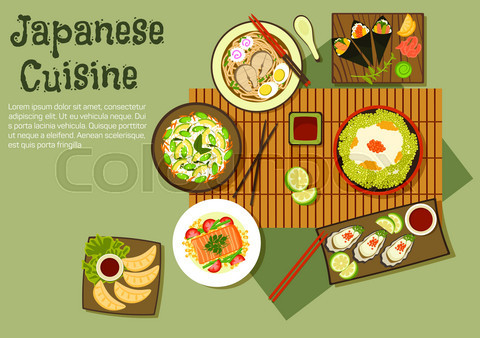 Oriental seafood dishes of japanese cuisine icon
