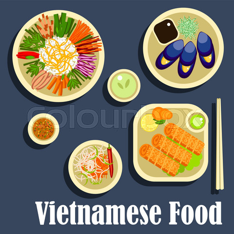 Traditional dishes of vietnamese cuisine flat icon