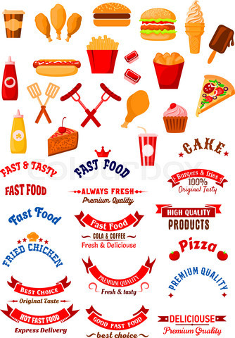 Fast food dishes and drinks icons for cafe design