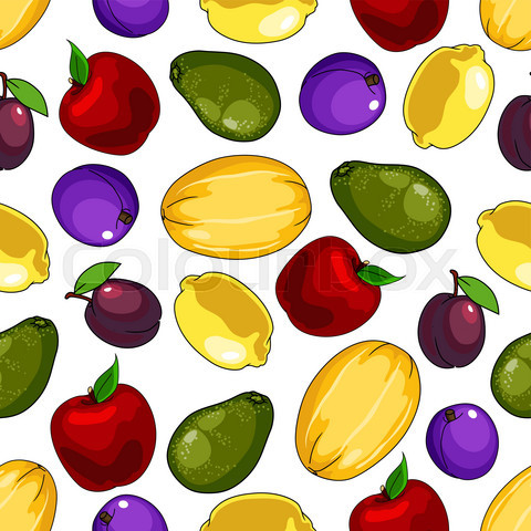 Seamless fresh fruits pattern for food design