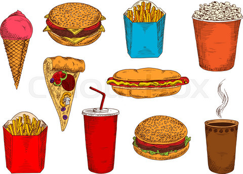 Fast food pizza, sandwiches, desserts and drinks