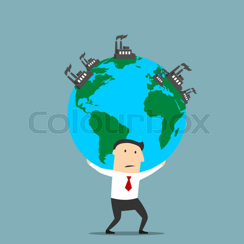 Businessman carrying earth with industrial plants