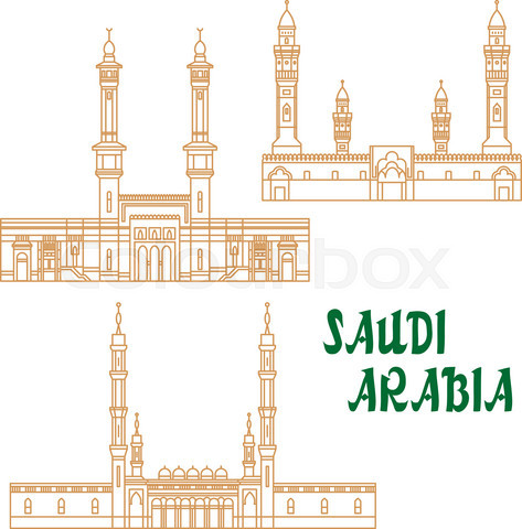 Ancient mosques of Saudi Arabia thin line icon