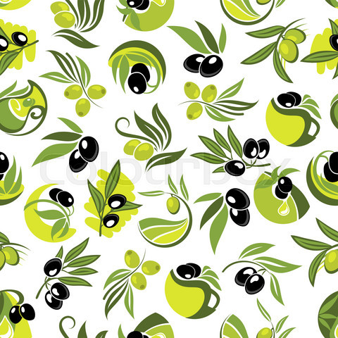 Olive branches and jugs of oil seamless pattern