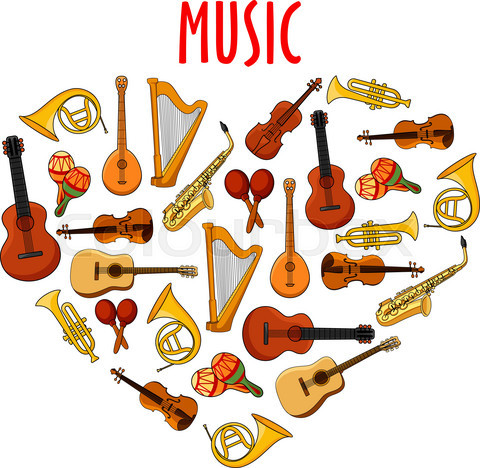 Heart with classical musical instruments symbol