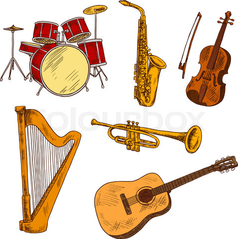 Concert musical instruments colored sketches