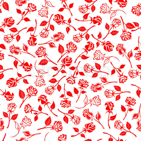 Seamless blooming roses and buds pattern