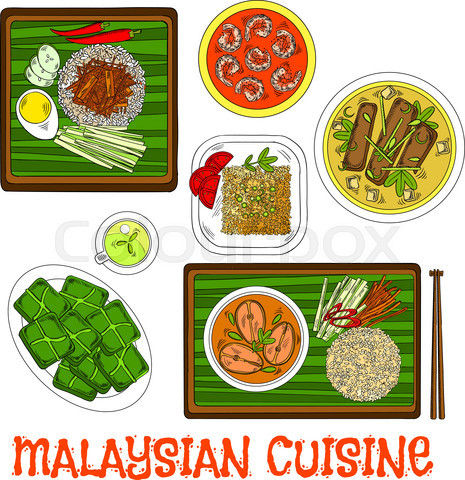 Malaysian cuisine dinner served on banana leaves