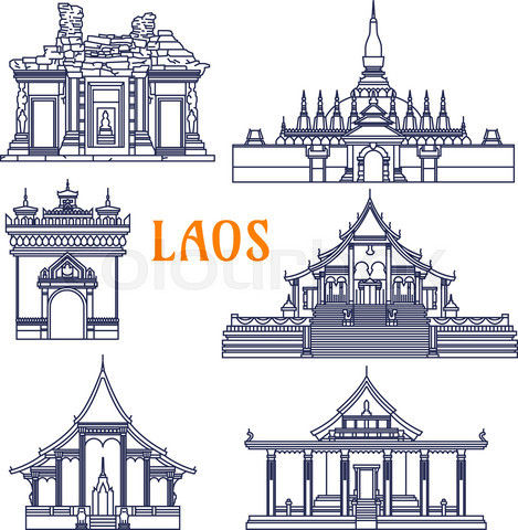 Laotian temples thin line icon for travel design