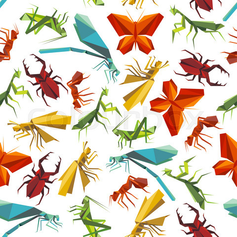 Colorful insects seamless pattern in origami style