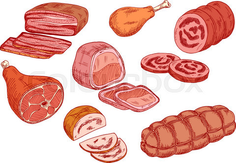 Sausages, ham and baked meat sketch icons