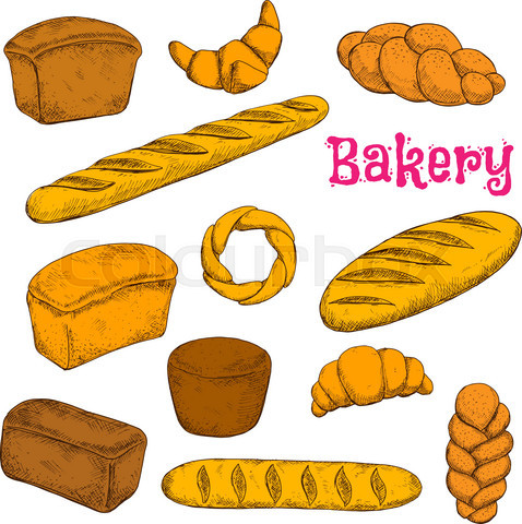 Fresh baked pastries and bread sketch icons