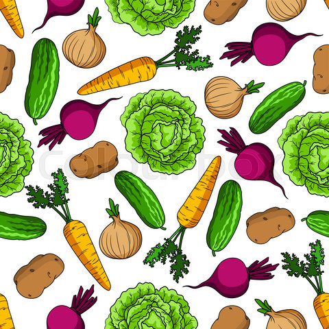 Vegetarian seamless pattern with fresh vegetables