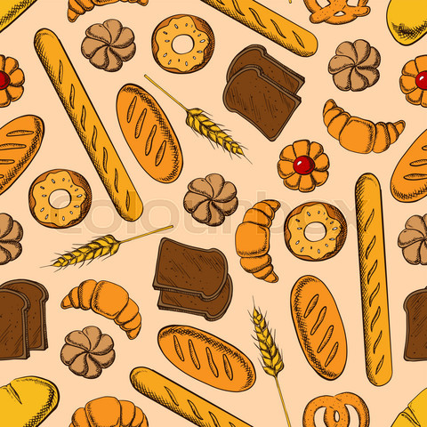 Seamless healthy bakery products retro pattern