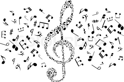 Musical notes and symbols in shape of treble clef