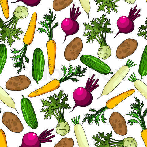 Healthy organic fresh vegetables seamless pattern