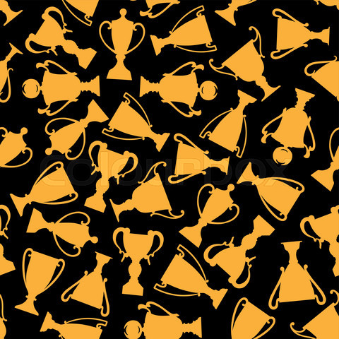 Seamless golden trophy cups pattern background