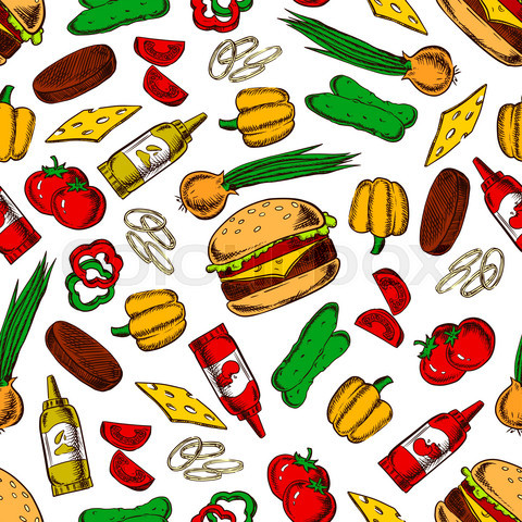 Seamless cheeseburgers with ingredients pattern